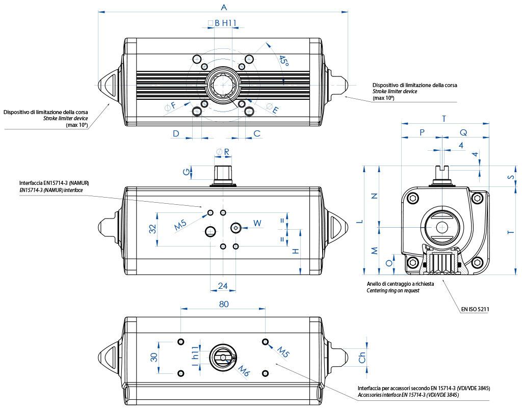 Alüminyum GD çift etkili pnömatik aktüatör - boyutlar - Çift etkili aktüatör ölçüler GD15 (Nm) ile GD1920 (Nm) arasında