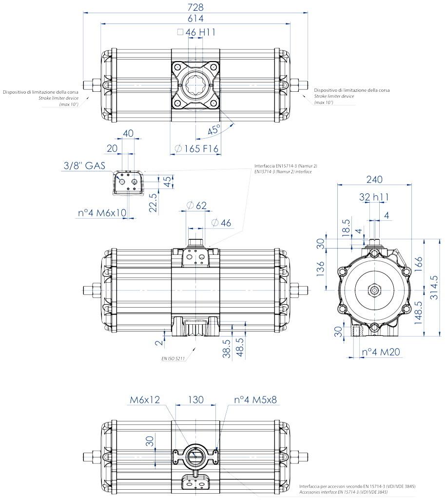 Alüminyum GD çift etkili pnömatik aktüatör - boyutlar - Çift etkili pnömatik aktüatör ölçü GD 3840 (Nm)