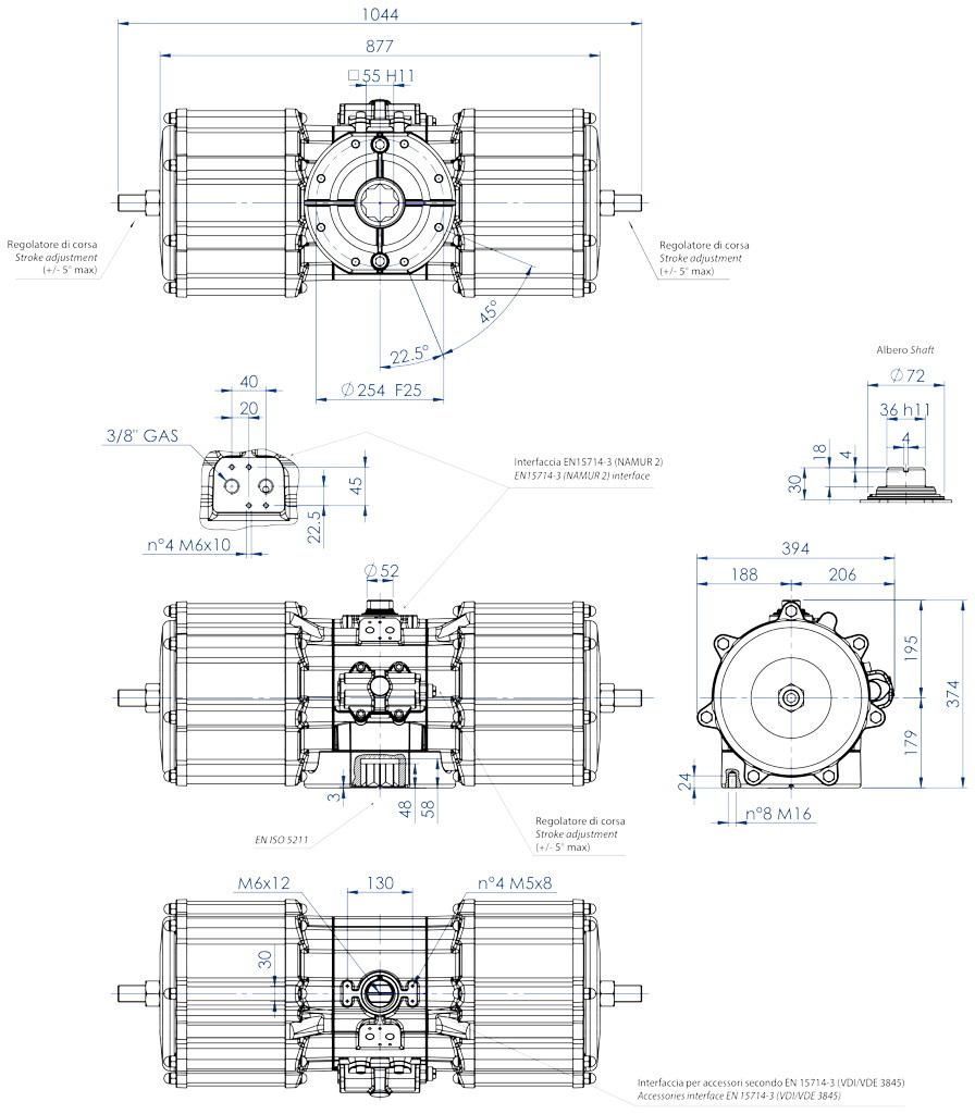 Alüminyum GD çift etkili pnömatik aktüatör - boyutlar - Çift etkili pnömatik aktüatör GD 8000(Nm)