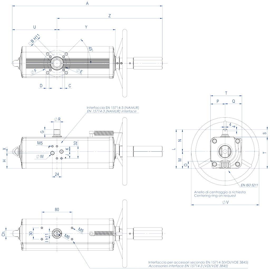 Entegre manuel kontrollü GDV çift etkili pnömatik aktüatör - boyutlar - GDV60 ÷ GDV1920