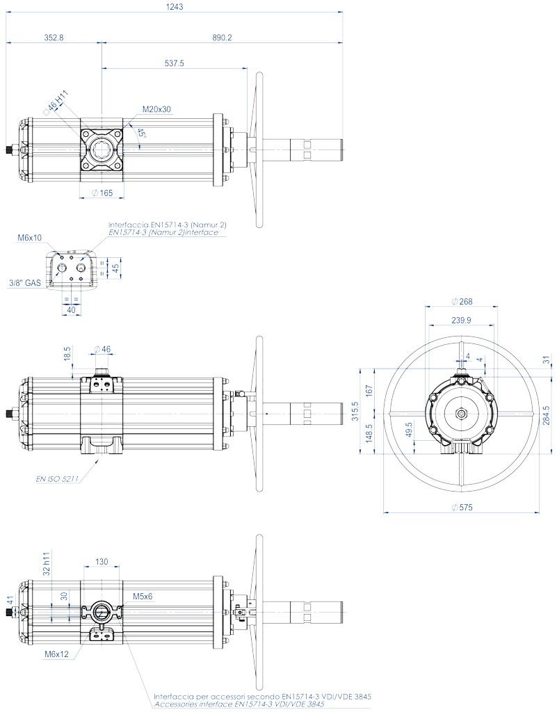 Entegre manuel kontrollü GDV çift etkili pnömatik aktüatör - boyutlar - GDV3840