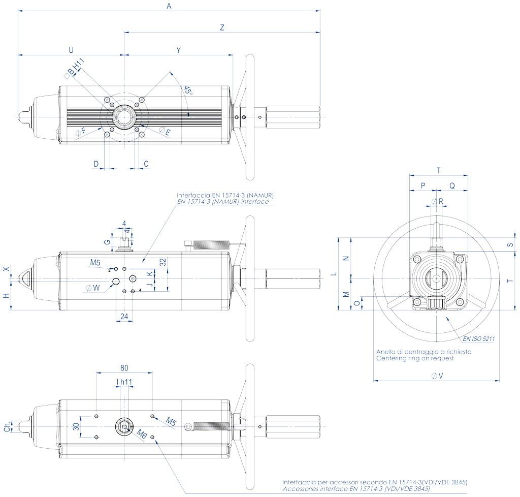 Entegre manuel kontrollü GSV tek etkili pnömatik aktüatör - boyutlar - GSV30 ÷ GSV960