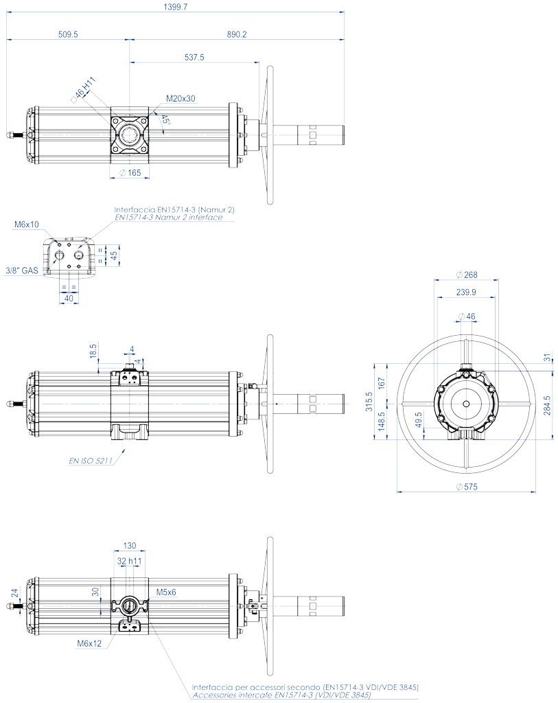 Entegre manuel kontrollü GSV tek etkili pnömatik aktüatör - boyutlar - GSV1920