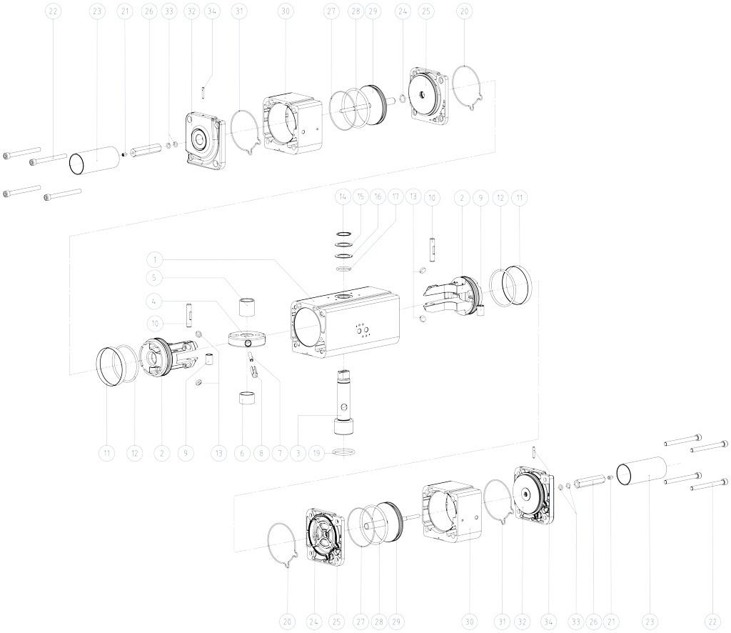 GDD Alüminyumdan pnömatik dozajlama aktüatörü - malzemeler - DOZLAYICI PNÖMATİK AKTÜATÖR BİLEŞENLERİ ÖLÇÜLER: GDD30 - GDD480