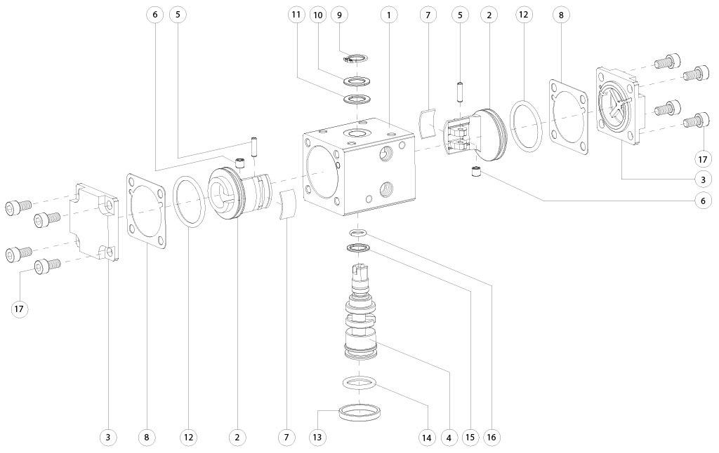 Alüminyum GD çift etkili pnömatik aktüatör - malzemeler - ÇİFT ETKİLİ PNÖMATİK AKTÜATÖR BİLEŞENLERİ ÖLÇÜ: GD8