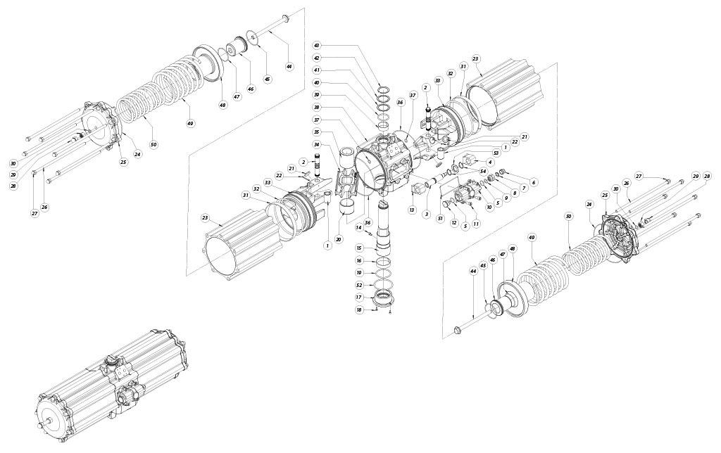 Alüminyum GS tek etkili pnömatik aktüatör - malzemeler - TEK ETKİ ÖLÇÜ PNÖMATİK AKTÜATÖR BİLEŞENLERİ: GS2880