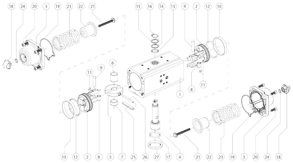 Alüminyum GS tek etkili pnömatik aktüatör - malzemeler - TEK ETKİ ÖLÇÜ PNÖMATİK AKTÜATÖR BİLEŞENLERİ: GS15-GS960