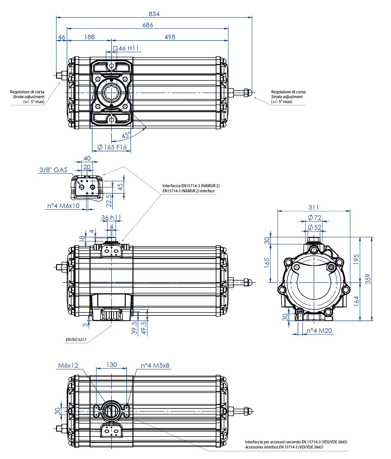 Alüminyum GS tek etkili pnömatik aktüatör - boyutlar - Tek etkili pnömatik aktüatör ölçü GS 1440 (Nm)