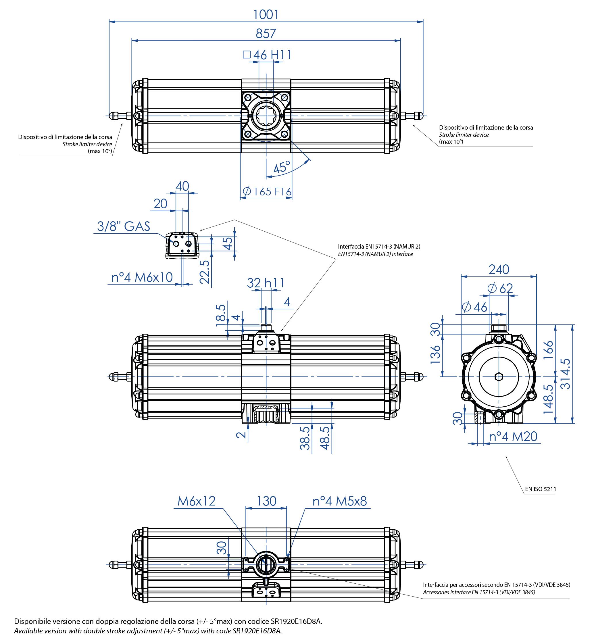 Alüminyum GS tek etkili pnömatik aktüatör - boyutlar - Tek etki ölçü pnömatik aktüatör GS 1920 (Nm)