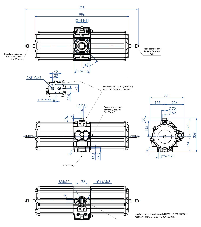 Alüminyum GS tek etkili pnömatik aktüatör - boyutlar - Tek etki ölçü pnömatik aktüatör GS 2880 (Nm)
