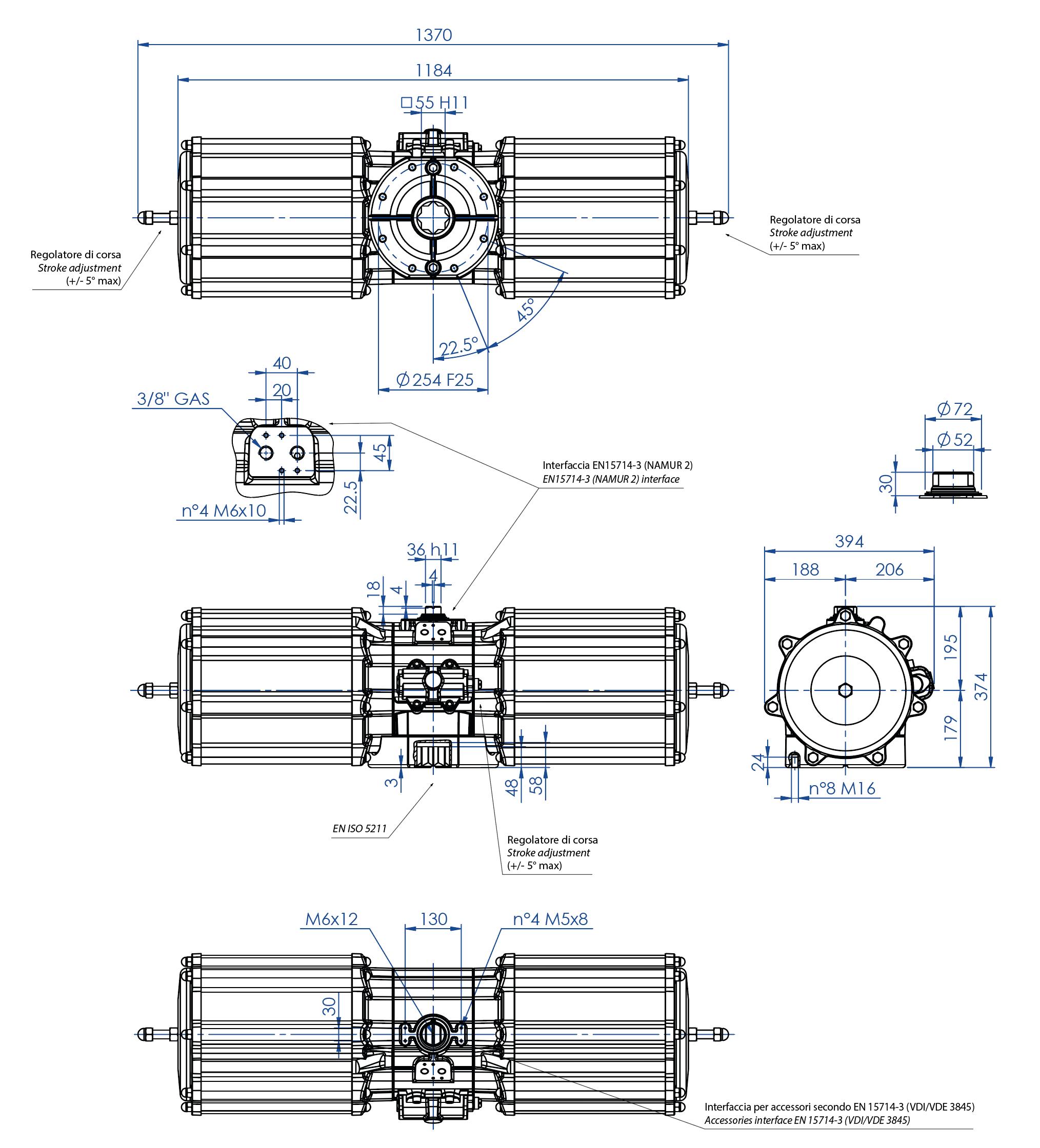 Alüminyum GS tek etkili pnömatik aktüatör - boyutlar - Tek etki ölçü pnömatik aktüatör GS 4000 (Nm)