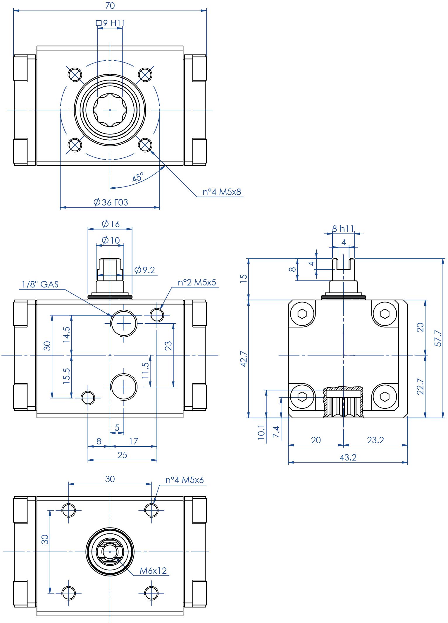 Alüminyum GD çift etkili pnömatik aktüatör - boyutlar - Çift etili aktüatör ölçü GD08 (Nm)