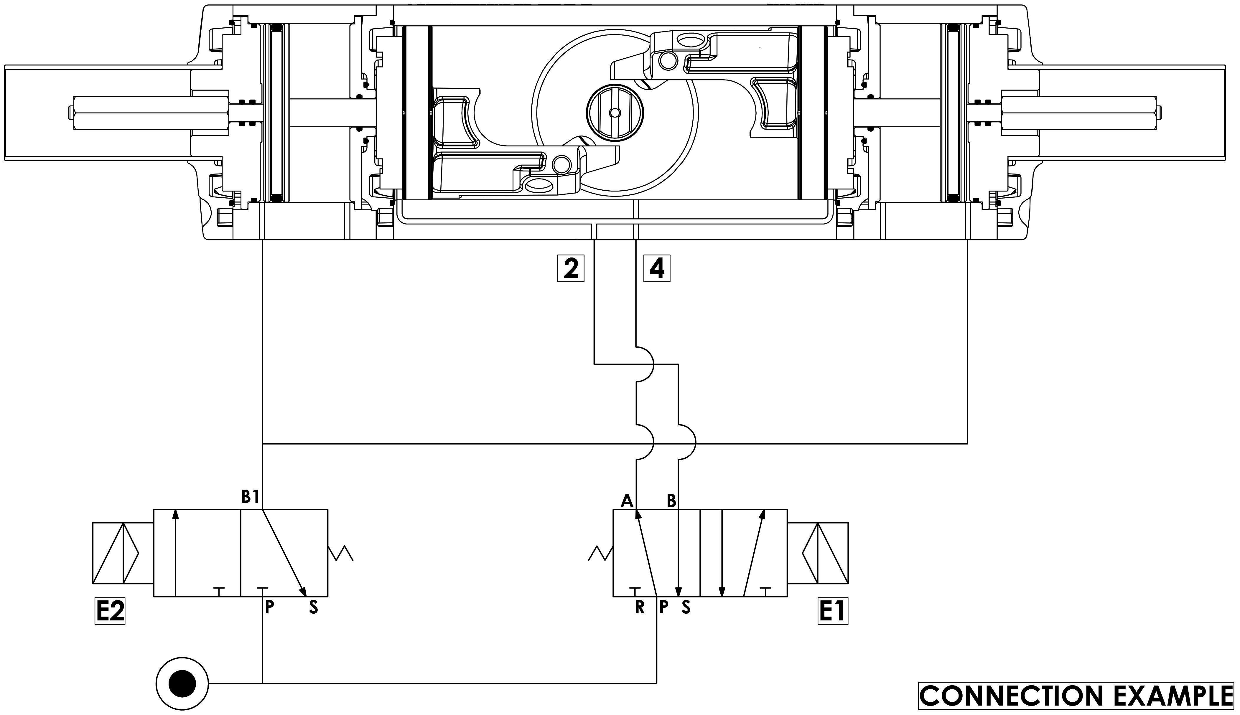 GDD Alüminyumdan pnömatik dozajlama aktüatörü - özellikler - Çalışma şeması