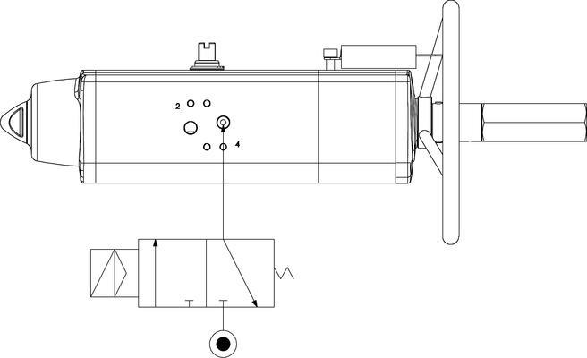 Entegre manuel kontrollü GSV tek etkili pnömatik aktüatör - özellikler -