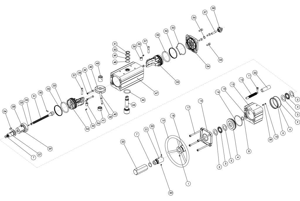 Entegre manuel kontrollü GDV çift etkili pnömatik aktüatör - malzemeler - ENTEGRE MANÜEL KONTROLLÜ ÇİFT ETKİLİ PNÖMATİK AKTÜATÖR BİLEŞENLERİ - ÖLÇÜ GDV1920'YA KADAR