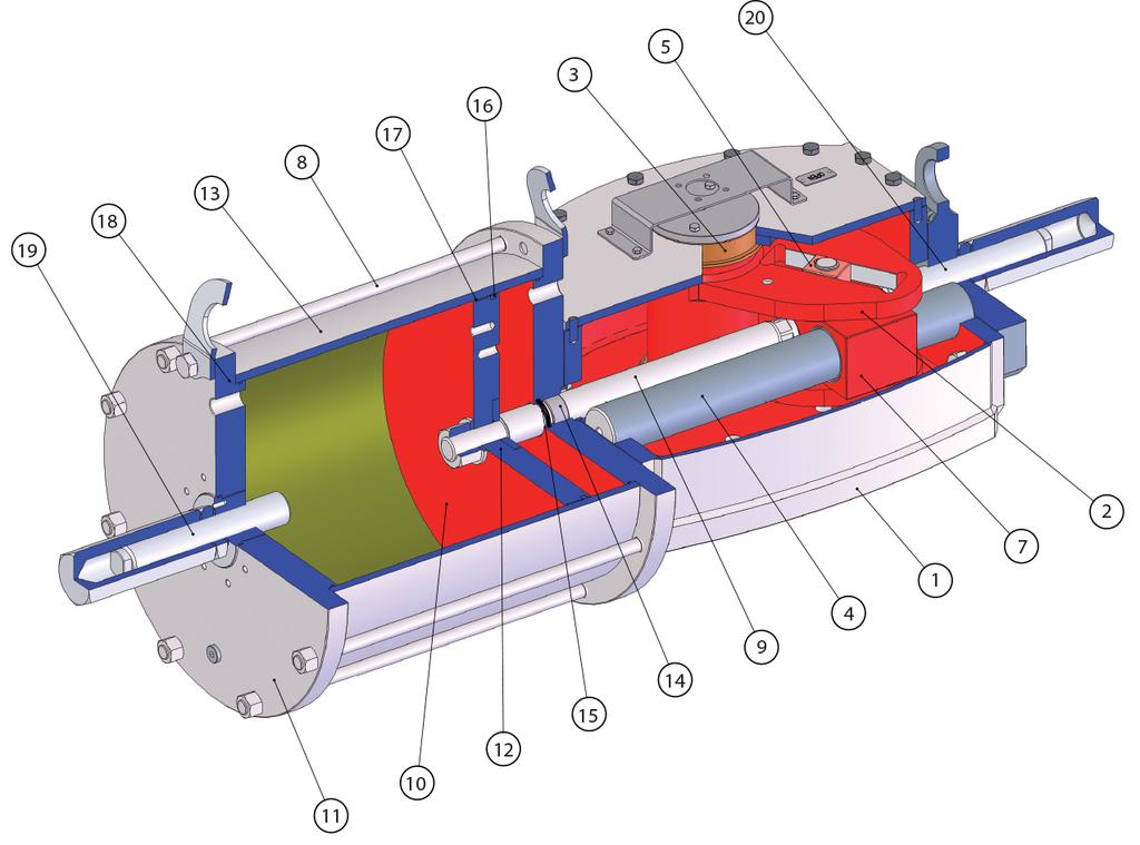 Çift etkili pnömatik aktüatör GD Heavy Duty karbon çeliği - malzemeler -