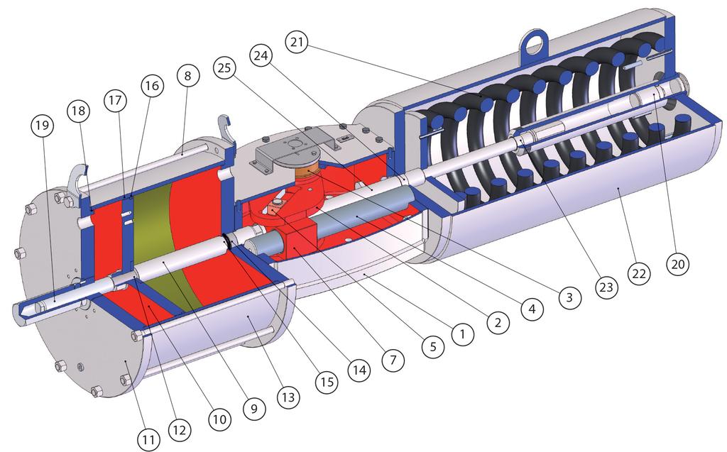 Tek etkili pnömatik aktüatör GS Heavy Duty karbon çeliği - malzemeler -