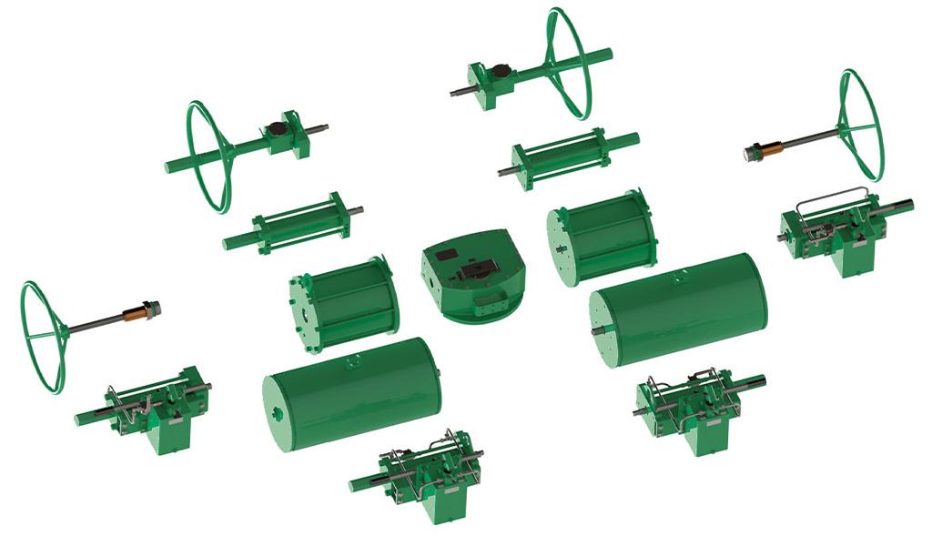 Tek etkili pnömatik aktüatör GS Heavy Duty karbon çeliği - aksesuarlar - Modüler Konstrüktif Tasarım
